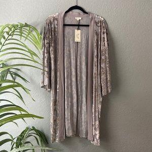 Sheer Velvet Silver Kimono